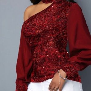 Mock neck cutout the shoulder wine red blouse